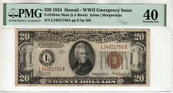 1934 20 Federal Reserve Hawaii Note Fr.2304m Mule Pmg Extremely Fine Ef Xf 40