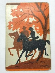 1a One Single Swap Playing Card Artistic Art Deco Couple Man Woman Horses Tree