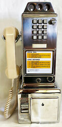 Automatic Electric Chrome Pay Telephone 3 Coin Slot 1950and039s Touch Tone