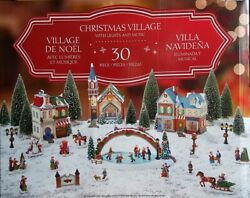 30piece Christmas Village With Lighted Ice Rink And Music