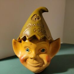 Vintage Elf Pixie Gnome Girl Scout Brownie Gold Ceramic Coin Money Bank Elves