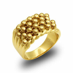 Jewelco London Mens Solid 9ct Yellow Gold 4 Row Keeper Rope Edge Ring