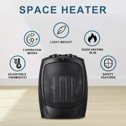 Small Space Heater Electric Portable Home Ceramic Fan Adjustable Thermostat New
