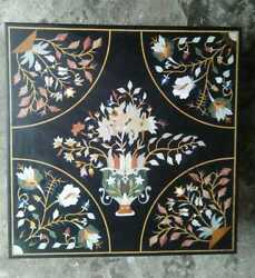 27and039and039 Black Marble Table Top Coffee Corner Pietra Dura Inlay Antique Malachite H1