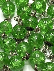† Old Stock Nwt Vintage Sterling Crackle Glass Green Rosary Necklace 35 54 Gr†