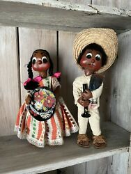 Vintage 1950's Cloth Ethnic Mexican Boy And Girl Dolls Wonderful Details