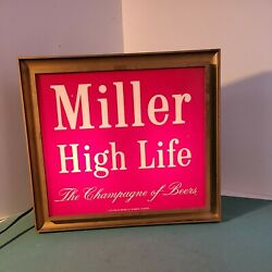 Vtg Advertising Lakeside Electric Sign Miller High Life Beer Light Up Breweriana