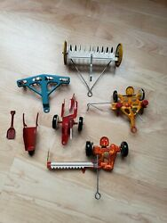 Marx Tin Litho Toy Farm Set Machinery Tractor Implements Equipment Lot Of 7