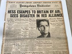 Display Newspaper 1941 Wwii Nazi Rudolf Hess Escapes To Britain Deserts Hitler