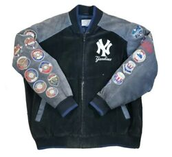 Yankees World Series Champions Suede Leather Jacket 2xl Xxl Black Blue