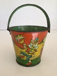 Vintage Small Tin Litho Sand Pail With Nursery Rhyme Theme, Cat And The Fiddle