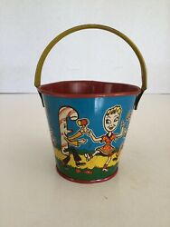 Vintage Us Metal Toy Mfg. Small Tin Litho Sand Pail, Characters Playing Music