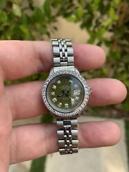 Ladies Rolex Oyster Perpetual Datejust Watch 6517 Stainless Steel 26mm Green
