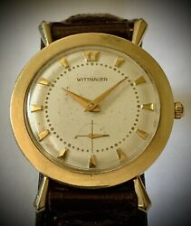 Vintage Wittnauer Longines Solid Gold Case Rare Fancy Case Serviced W Box Paper