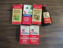 Vtg Schilling Extract And Food Coloring 5-boxes And 4 Bottles. All Empty
