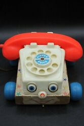 Vtg 1961 Fisher Price Chatter Phone Rotary Telephone Pull Toy 747