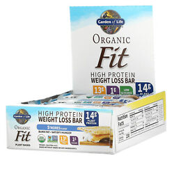 Garden Of Life, Organic Fit, High Protein Weight Loss Bar, S'mores, 12 Bars,