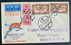 1932 Cairo Egypt First Flight Airmail Cover Ffc To Cape Town South Africa Imperi