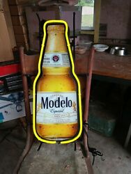 New Modelo Especial Cerveza Beer Light Up Sign Neon Made In Usa Lighted Bar Pub