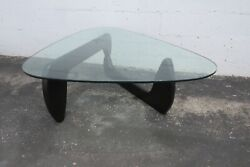Mid Century Black Painted Base Guitar Pick Shape Glass Top Coffee Table 2316