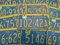 Pennsylvania License Plate Pa 1958 1959 1960 1961 1962 1963 1964 - Pick Your Tag