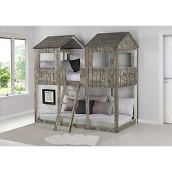 Donco Kids Tower Bunkbed Twin/twin Rustic Dirty White