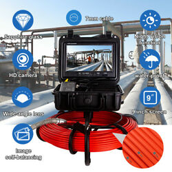 9 Inch 50m Self-leveling Drain Inspection 12 Led Industrial Sewer Camera Dvr 16g