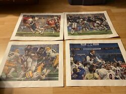 1986 Chicago Bears Lithograph Sears Poster Super Bowl Xx Lot Of 4