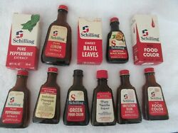 Lot Of 11 - Vintage Schilling Extract And Food Color Glass Bottles/boxes