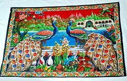 Vintage Tapestry Wall Hanging Peacock Garden 100% Cotton Made in Turkey 60quot;x40quot;