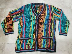 Nwot Vintage Coogi Ocean View Colorful Cardigan Sweater Size M Rare