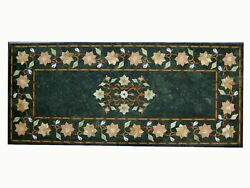 48x24and039and039 Green Center Coffee Dining Marble Table Top Inlay Mosaic Malachite