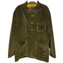 Arnys Size 54 Xxl Green Corduroy Forestière Jacket Button Front Elbow Patches