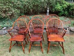 Vintage D. R. Dimes Bowback Windsor Chairs Set Of 6 Dining Chairs