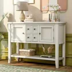 Trexm Retro Style Buffet Sideboard Wood Console Table With Drawers Bottom Shelf