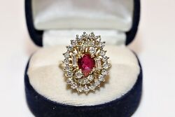 Vintage Original 14k Gold Natural Diamond And Ruby Decorated Amazing Ring