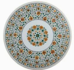 3' White Marble Table Top Dining Coffee Center Inlay Moasic Lapis Decor Flower