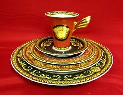 4 Medusa Red By Rosenthal - Versace 5 Piece Place Settings Fine China Mint