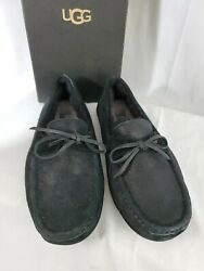Ugg Mens Sz 8 Byron Bomber Jacket Black Fur Slippers -new In Box And Free Shipping