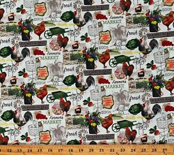 Cotton Farmers Market Food Chickens Eggs Vegetables Fabric Print BTY D487.68