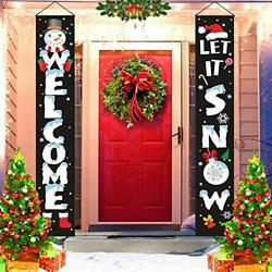 Christmas Decorations Outdoor - Xmas Porch Sign Banners- Welcome Let It Snow