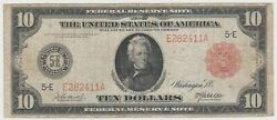 Large Size Note 1914 Frn 10 Red Seal Ten Dollar Bill Rare F-896a Wow