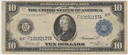 Large Size Note 1914 Frn 10 Ten Dollar Bill Rare F-925 Pair Of Notes Highandlow