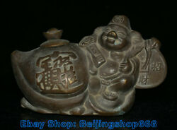 6.4 Marked Old Chinese Bronze Dynasty Pig God Ru Yi Coin Wealtn Kettle Teapot
