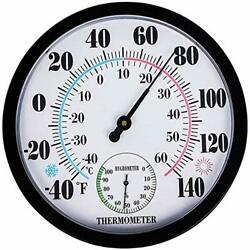 Indoor Outdoor Thermometer Wireless - Garden Wall Thermometer Hygrometer Black