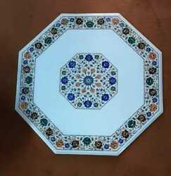 24 Antique White Marble Table Top Center Coffee Inlay Round Decor Mosaic Fs