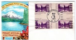 770a Mt Rainier Imperf Farley 1935 Fdc Ralph Dyer Hand-painted