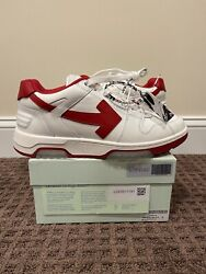 Off White Out Of Office Red / White Low Top Sneaker Ooo Size 43