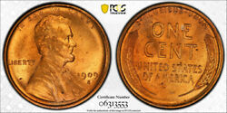 1909 S/s 1c Lincoln Wheat Cent Pcgs Ms 66 Rd Full Red S/horizontal S Nice