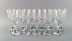 Baccarat, France. 11 Art Deco Assas Red Wine Glassses In Crystal Glass.